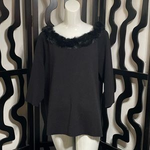 Lane Bryant Fur Trim Top